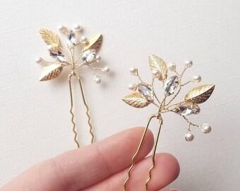 Gold Hair Pin, Gold Leaf Hair Piece, Gold Leaf Hair Clip, Gold Hair Vine, Wedding Leaf Hair Pins, Bridal Hair Comb, Wedding Clips