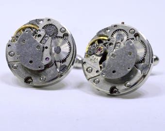 Stunning round watch movement cufflinks ideal gift for a wedding, birthday or anniversary 83