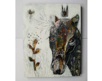 Original horse painting whimsical boho mixed media art on wood panel 11x14 inches - The return of growth