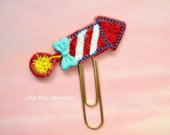 FIrecracker Glitter Planner Clip Paperclip patriotic fourth of july