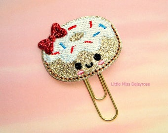 Patriotic Donut Glitter Planner Clip Paperclip fourth of july