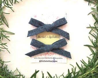 Blue Denim Hair Bow, Denim Headband, Fall Hair Clip, Back to School Hair Bow, Nylon Headband, Bow Hair Clip, Ponytail Hair Clip