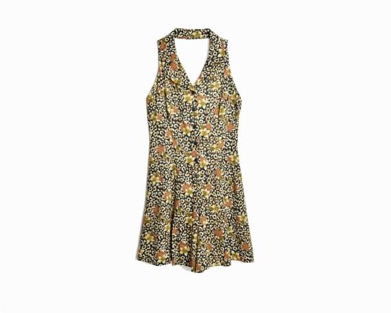 Vintage 90s Leopard Print Romper / Floral Summer Romper - women's medium