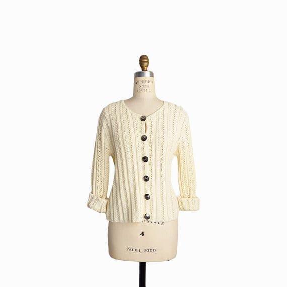 Vintage 90s Knit Cardigan Sweater in Cream / Ivory Cardigan - women's medium