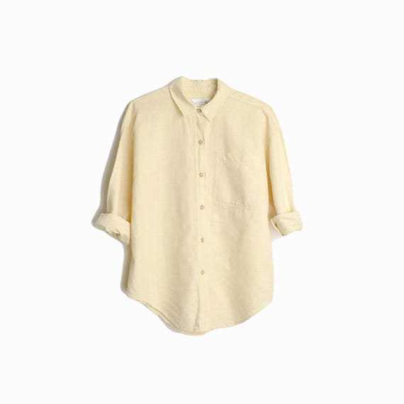Vintage Minimalist Linen Shirt in Natural / Long Sleeve Linen Blouse - women's medium