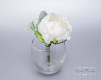 White Peony Boutonniere . Real Touch Wedding Bridal Silk Flowers. groom, groomsmen, prom pin on flower, button hole, Peony Collection