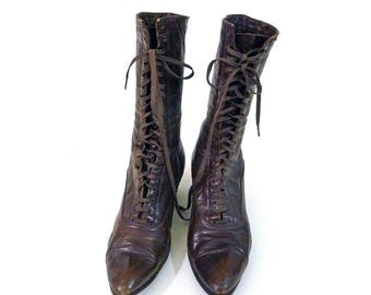 Summer Sale Edwardian to Teens Ladies Brown Leather Oxford Style Boots
