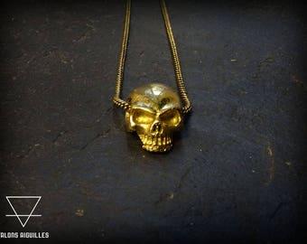 collier tete de mort # skull necklace # brass skull pendant with chain