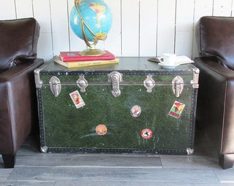 Extra Large Mid Century Storage Trunk - Steamer Trunk - Great for TV Stand, Side Table, Dorm Room