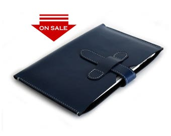 ON SALE!!  Hand-Stitched iPad Mini Sleeve Case in Box Calf Navy Blue leather