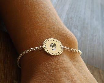 Sterling Silver Cactus Stamped Bracelet, Sterling Silver Bracelet, Hand Stamped Bracelet on Etsy
