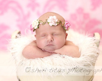 Pink White Flowers and Gold Leaves Headband - Grecian Look - Golden Leaf Flower Crown
