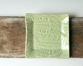 Small Square Plate in Fishbone Fern design
