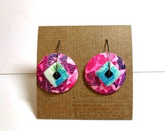 """1 """"Pretty in Pink"""" new design disk earring made by Marie Segal 2017"""