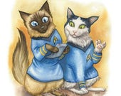 """SALE Star Trek Cats - Watercolor 8x10"""" print of Spock and Bones bewildered by a tricorder"""