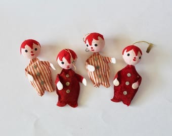Vintage 1950's/1960's Set of Four Boys in Red and White Pajamas Christmas Ornaments- Made in Japan