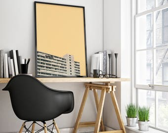 Architecture Art, City Print, Minimalist Orange and Grey Wall Art - Hot in the City