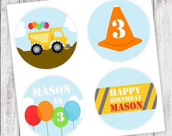 Construction Party #Stickers, Gift #Tags OR Cupcake #Toppers