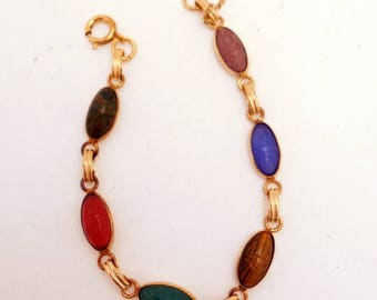 Vintage Oval Scarab Bracelet Gold Filled