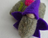 Flower Fairy in Tulip Pouch, Waldorf Spring Toy, Easter Fairy Doll, Spring Nature Table, Pocket doll, Tulip fairy, purple, pink