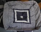 French Ticking Bolster Cushion Cover .  Navy Blue and White Stripe Pillow. Antique Textiles.