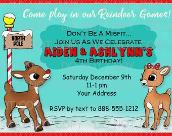 Printable Birthday Party Rudolph Theme Invitations