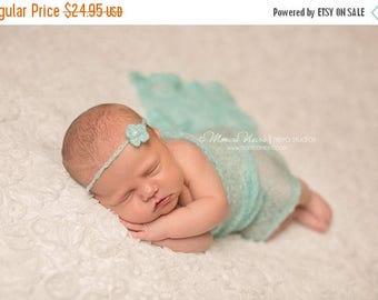 ON SALE Mohair wrap with tie back, Aqua mohair wrap, newborn photography prop, baby girl prop