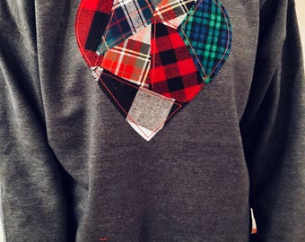 Flannel Pieced Heart Sweatshirt