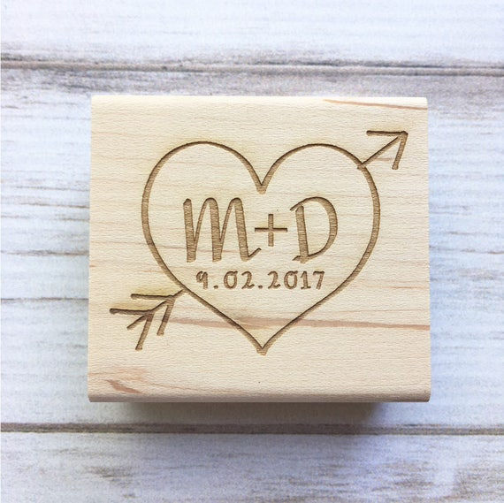 Wedding Stamp Heart Arrow Initials and Date - Save the Date, Weddings, Anniversary, Rustic Rubber Stamp