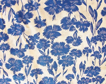 Vintage Fabric 1960s Blue Floral Fabric White Background Fabric by the Yard 38 inch wide
