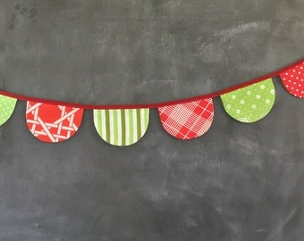 Christmas Bunting - READY TO SHIP - Scallop Flag Garland - Holiday Decoration - Red and Green -Fabric Bunting - One 10' Bunting Banner