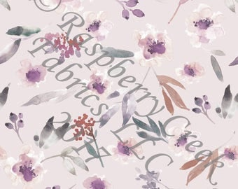 Dusty Lavender Eggplant Burgundy and Grey Watercolor Floral 4 Way Stretch Jersey Knit Fabric, Fall Floral for Club Fabrics