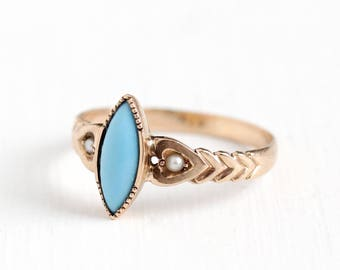 Antique 10k Rose Gold Turquoise Gem Ring - Size 5 1/2 Vintage Victorian 1900s Blue Gemstone Seed Pearl Heart Motif Fine Jewelry