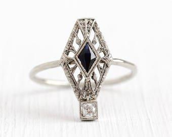 1920s Filigree Ring - Antique 14k White Gold Diamond Created Blue Sapphire Stick Pin Conversion - Vintage Art Deco 1920s Size 6 Fine Jewelry