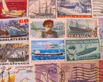 Lost At Sea 50 Vintage Postage Stamps Nautical Ships Boats Ocean Navy Marine Maritime Sailor US Worldwide Sailing Honeymoon Travel Philately