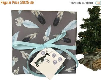 BLACK FRIDAY SALE Bohemian Christmas -Gift Wrap Kit -Blue- Feathers -Ribbon and Tags-Penguins-Snowflakes