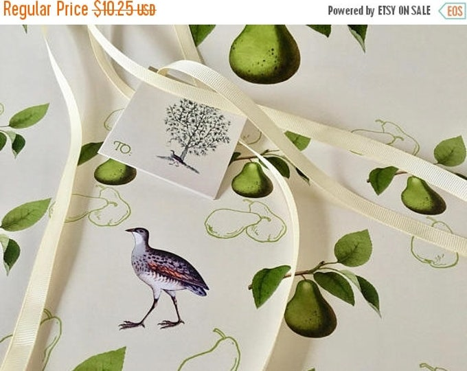 BLACK FRIDAY SALE Partridge and Pear Christmas Gift Wrap Kit Set Green and Ivory Pear Scented