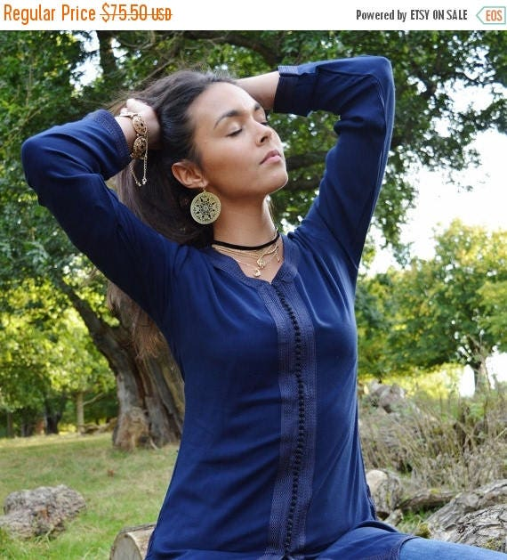 25% OFF Autumn Sale// Magrib Style Navy Blue Shirt - for casualwear, loungewear, as birthday, honeymoon gifts for her, resortwear, christmas