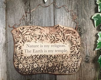 Handmade Nature Lover Quote Ceramic Plaque