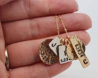mixed metals family necklace, kids names jewelry, gold silver pink, initials birthdate stamped pendants, mothers necklace, malisay designs