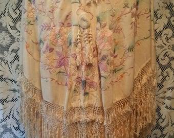 Antique Silk Pastel Flower Embroidered Piano Shawl Cape Finge Tassels