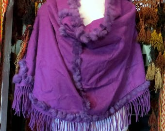 Purple Cashmere/Fur Fringed Shawl, Nordstrom