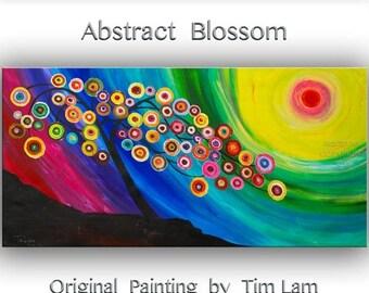 "sale Art, painting, Fine art, Flower painting, 48"" original art, Modern art,  multi-colors art, abstract art, Acrylic art, huge canvas panel"
