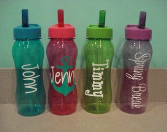 Personalized Water Bottles BPA free with Pop-Up straw and lid loop for easy carring. Great for the Beach, Spa and Party Favors