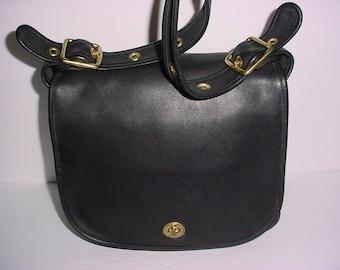 Vintage Coach black leather Stewardess Cross body Messenger bag