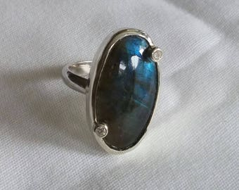 Labradorite sterling silver with CZ
