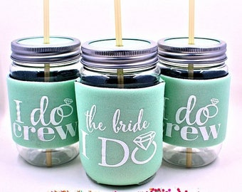 ON SALE Bachelorette Party Cups, Bachelorette Party Favors, I Do Crew Cups, Mint