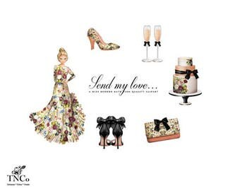 Floral Dress - Dress clip art - Wedding cake clipart - Black Shoes - Champange flutes - Commercial use digital clipart - MK - Party Clipart