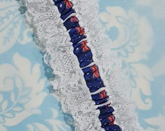 Flag wedding garter - Lace Australian Flag - single Wedding garter - white and Aussie garter - red white and blue garter
