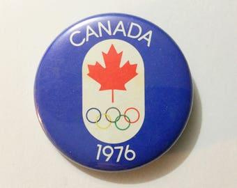 Vintage Olympics pin, vtg 1976 Olympic, vtg Olympics, vtg pin back, vtg Canada Olympics